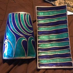 Vintage pewter enamel vase and platter